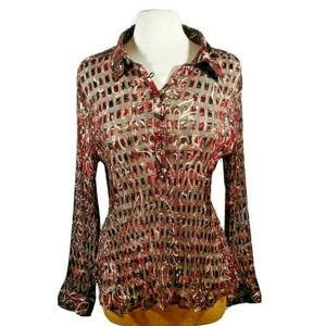 Violet & Claire Womens  Sheer Ribbed Blouse XL